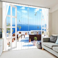 Move The House To The Sea Bedroom Living Room Kitchen Home Textile Luxury 3D Window Curtains Gift For Family