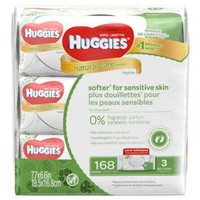 Huggies Natural Care Baby Wipes Unscented 168 ct 3 pk