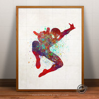 Spiderman Poster, Watercolor, Marvel Poster, Superhero Art, Heroes Illustrations, Watercolour, Giclee Wall, Artwork, Comic, Fine, Home Decor