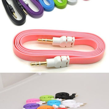 New Colorful 3.5mm Stereo Auxiliary Cable Male to Male Flat Audio Music Aux Cord = 1705986884