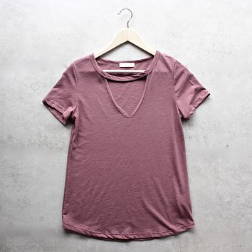Final Sale - BSIC - Slub Choker V-Neck Tee in More colors