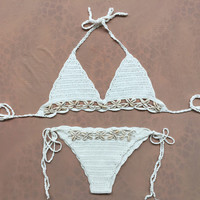 Sexy Handmade Knitting Bikini Shell Swimwear for Womens Gift