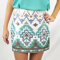 Electric Sounds Mint Aztec Sequined Skirt