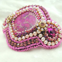 Barrette Embroidered with Swarovski crystals ,variscite and pearls