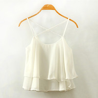White Criss-Cross Chiffon Layered Top