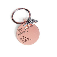 Go Ahead, Make My Day - Hand Stamped Copper Necklace or Keychain, Gifts for Him, Groomsmen Gift