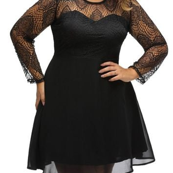 Casual Courtly Solid Patchwork See-Through Plus Size Flared Dress