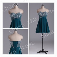A-Line Sweetheart Beads Lace-up High Quality Cheap Chiffon Ruffle Piping Short Bridesmaid /Party / Evening /Prom / Formal Dresses 2014