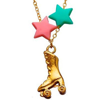 Bottle Blonde Roller Skate Charm Necklace