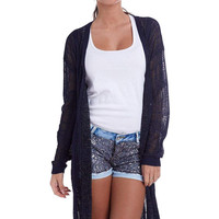 Q2 Navy Blue Jacket In Loose Knit