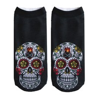2017New Fashion Autumn Winter Fashion Casual Cotton 3D Socks Skull Heads Printed Socks Male and Female Generic 1 Pair
