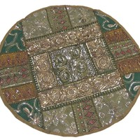 Khaki Brown and Green Round Floor Seating Cushion Cover Beaded Sari Indian Rajasthan Living Room Large Pillowcase 26 Inch