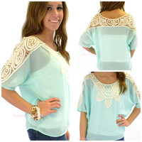 Calloway Crochet Lace Mint Top
