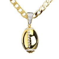 "Jewelry Kay style Men's Gold Toned Iced CZ Football Pendant 20"" Cuban Chain Necklace CP 15109 G"
