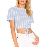 by the way. Kristian Drawstring Crop Top in Blue Stripe