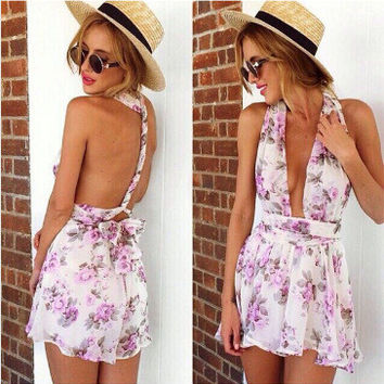 Fashion Women Floral Beach Chiffon Bodycon Jumpsuit Short Pant To Tops = 4721134404