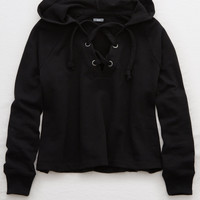 Aerie Lace-Up Crop Hoodie , True Black