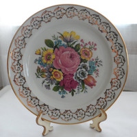 DISCOUNTED RARE BAYREUTH from Royal Gloria Fine Porcelain Cake  Plate with 24k Gold Trim and Hand Painted Floral Design/Bavarian Porcelain C