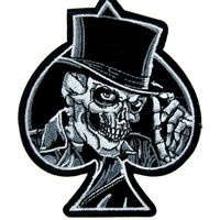 Top Hat Death Skull Patch Iron On Applique Alternative Clothing Ace of Spades