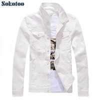 Trendy Sokotoo Men's slim full sleeve all match denim jean jacket Casual black white fancy colored coat Outerwear AT_94_13