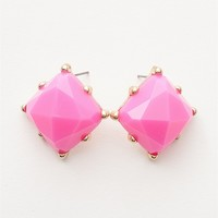 Jewelry & Accessories Face Forward Faceted Square Stone Post Earrings - Fuchsia