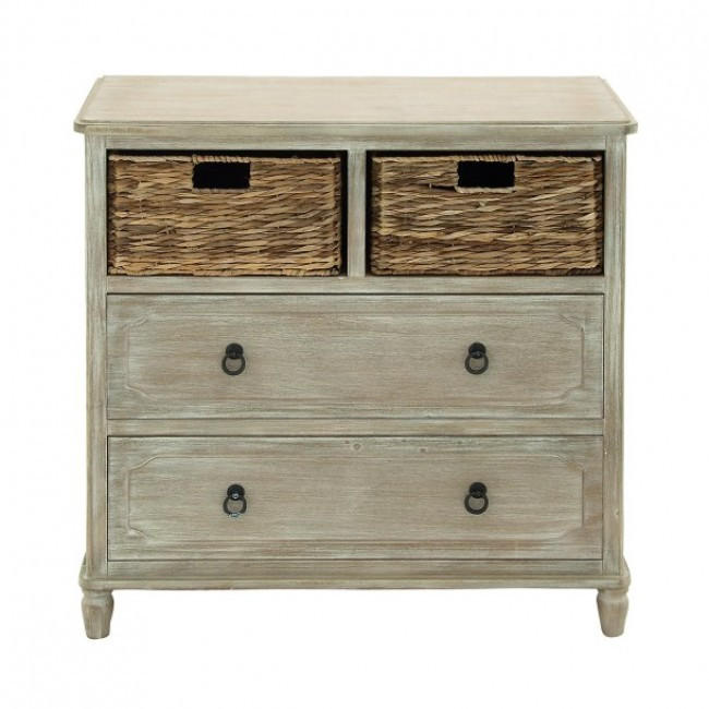 Image of Weathered 2-Drawer Chest with Baskets
