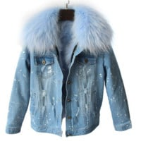 Shae Distressed Denim Fur Jacket Pastel Blue