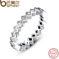 BAMOER 925 Sterling Silver Alluring Princess Stackable Finger Ring with Clear CZ Original Fine Jewelry PA7158