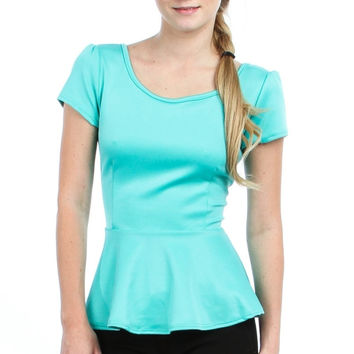 Peplum Top With Bow Tie