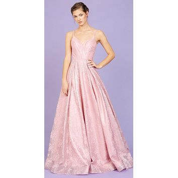 Dusty Rose V-Neck Floral Pleated Long Prom Dress