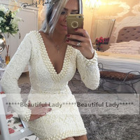 New 2016 Ivory Short Cocktail Dress Deep V Neck Sheer Back Pearls Lace Long Sleeve Party Gowns Sheath Mini Sexy Occasion Dresses