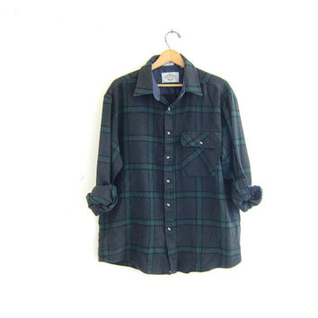 20% OFF SALE Vintage green and gray plaid flannel shirt / Tomboy Grunge Shirt / button up shirt / street wear
