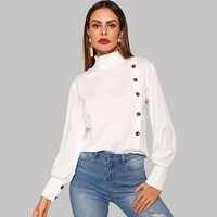 Tie Neck Lace Sleeve Fitted Top Office Ladies Long Sleeve Shirt Womens Tops Blouses