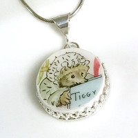 Little Girls Jewelry, Little Girl Gifts, Kids Necklace, Broken China Necklace,Mrs Tiggy-Winkle, Peter Rabbit Baby Shower Gift for New Baby