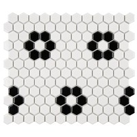 Merola Tile Metro Hex Glossy White with Heavy Flower 10-1/4 in. x 11-3/4 in. x 5 mm Porcelain Mosaic Tile (8.54 sq. ft. / case)-FXLM1HGH - The Home Depot