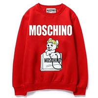 Moschino Fashion New letter dog print couple leisure keep warm long sleeve top sweater Red
