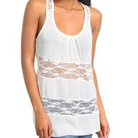 G2 Fashion Square Sleeveless Lace Panel Tank Top