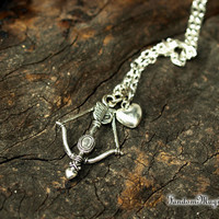 Once Upon a Time, Outlaw Queen, Magical Necklace Bow and Arrow and Heart Charms, Robin Hood and Regina's Ship Name, Inspired by ABC TV Show