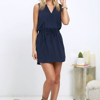 Ocean View Avenue Navy Blue Sleeveless Dress