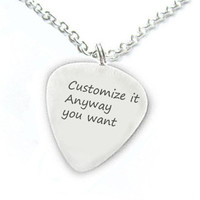 Customize Guitar Pick Necklace Personalized it anyway you want Hand Stamped Pendant Music Gift Birthday engraved