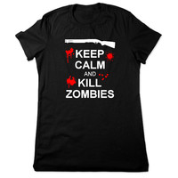Funny Shirt, Keep Calm And Kill Zombies T Shirt, Funny TShirt, Horror Tshirt, Zombie Tshirt, Funny Tee, Geeky T Shirt Ladies Women Plus Size