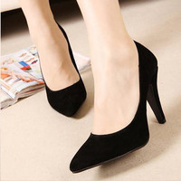 Women OL New Classical Pointed Toe Shoes Suede Solid Trendy Fashion Sandals 1mS