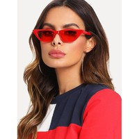 Cat Eye Mirror Lens Sunglasses RED