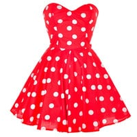 Red Polka Dot Party Dress | Style Icon`s Closet