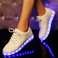 Fashion colorful led luminous rechargeable sneakers
