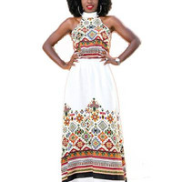 Turtleneck African Dashiki Maxi Dress