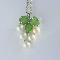 Pearl necklace, real fresh water pearl with jade leaf necklace, grape shaped necklace , wedding jewelry.