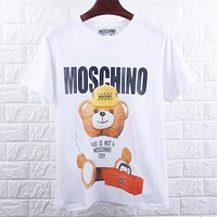 MOSCHINO Summer Women Men Casual Cute Bear Print T-Shirt Tunic Blouse Top White