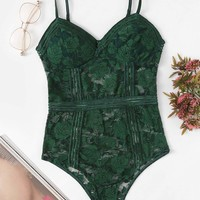 Floral Lace Teddy Bodysuit