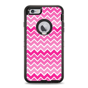 The Pink & White Ombre Chevron V2 Pattern Apple iPhone 6 Otterbox Defender Case Skin